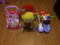 Girls baby walker, 3in1 zebra ride on and snail rocker