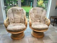 Cane swivel rocker chairs