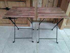LOVELY PAIR OF FOLDING TABLES WOOD SLAT TOPS AND METAL LEGS STRONG STURDY GARDEN BOOT SALE TABLE