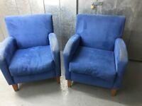 2x Blue Nubuck Armchairs