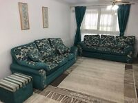 2 x 3 seats double sided sofa & 2 foot rests