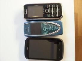 2 nokia phones and 1 htc