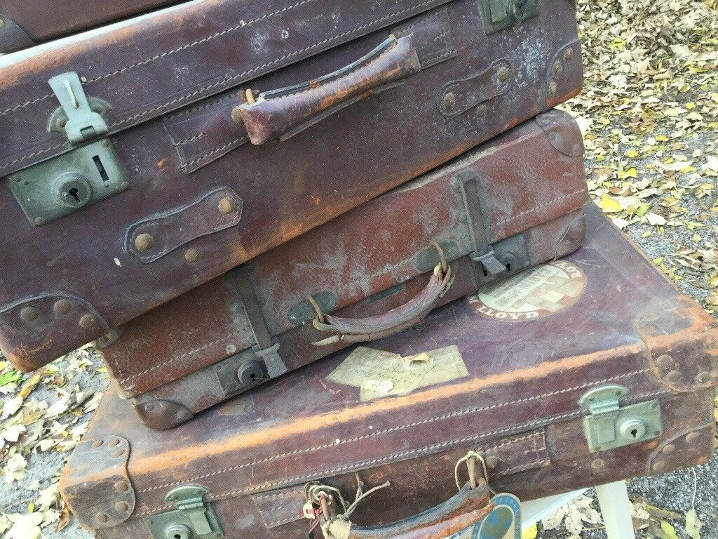 Four Vintage leather suitcases with original vintage travel labels - shabby chic - boho