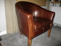 Brown Leather Tub Chair (From Omni Furniture) 5 months old