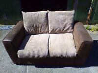 Brown Faux Leather and Cord Fabric Sofa 2 Seater Sofa - Delivery Available