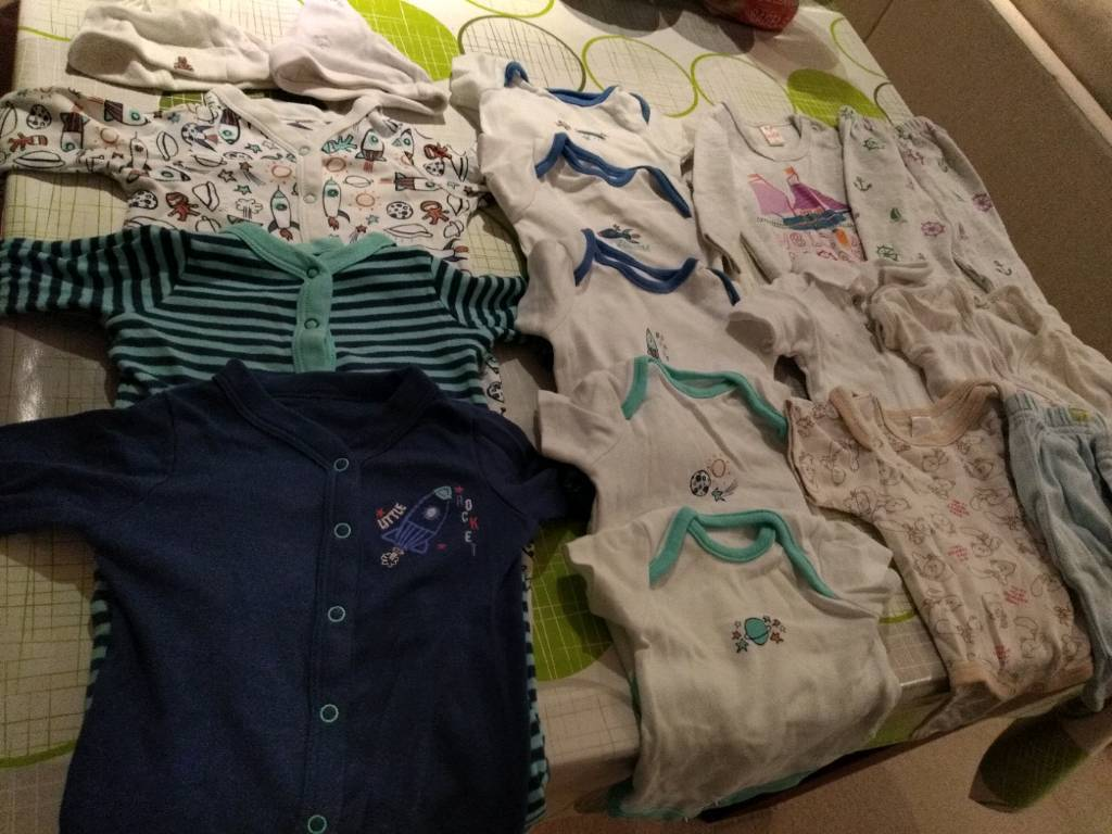 b252d816096a First size baby sleepsuits   bodysuits