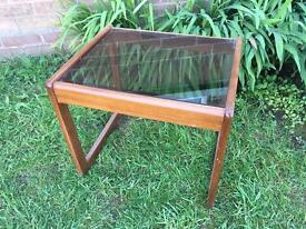 Vintage teak Nathan side coffee table with smoked glass top
