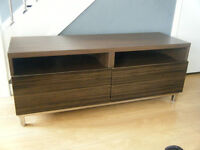 tv cabinet with 2 large drawers with high gloss fronts , cable access to upper compartments