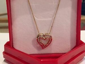 "#1076 14K 20"" necklace with heart pendant DIAMONDS!"