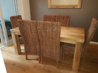 Mantis Light Natural Solid 6ft Dining Table & 6 Chairs
