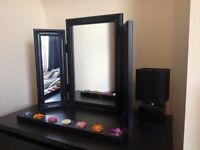 Moving - mattress, 2 x black chest of drawers, 2 x mirror, lampshade, throw and cushions for sale