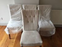 Oak upholstered rollback dining chairs RRP £400