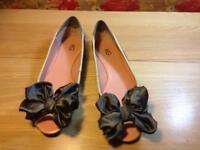 KG Kurt Geiger Flat Glitter Peeptoe shoes with bow