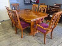 NEW EX DISPLAY GEORGOUS DINNING TABLE 6 ARM CHAIRS MODERN DESIGNER TABLE NEW