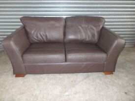 Two matching Marks & Spencer Brown Leather 2-seater Sofas (Suite)