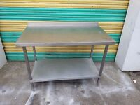 stainless steel preparation table work bench under shelf for catering