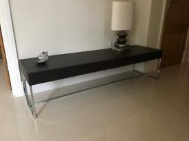 Designer table with leather top and chrome legs