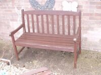 2 garden benches one all wood the other has metal ends