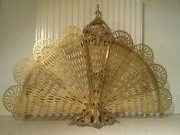 Vintage Antique Brass Peacock Folding Fan Fire Screen / Fire Guard