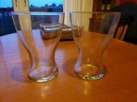 2 clear vases
