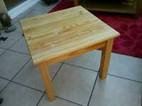 Square pine side table