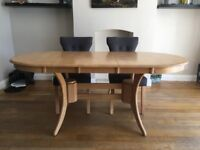 Milton Extendable Oak Dining Table with 4 textile chairs