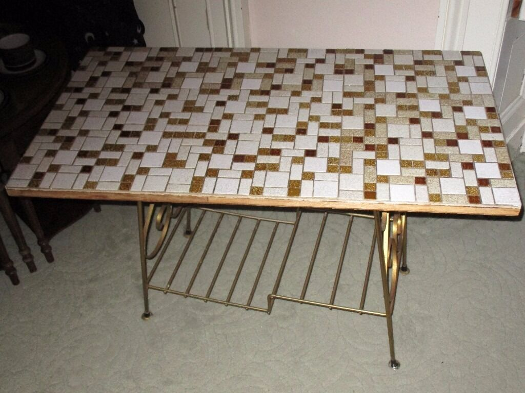 Vintage Tile Top Table with Metal Base - For Restoration