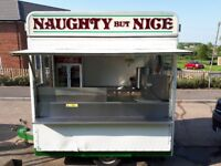 Burger van and pitch for sale .