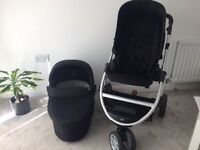Mamas and papas interchangeable pram, 3 wheeler, black, from smoke free & pet free home