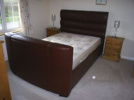 Dreams Barcelona TV Leather Bed Dark brown with TV