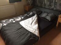 Black leather look king size sleigh bed and mattress