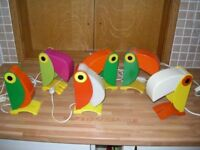 6X OLD TIMER FERRARI TOUCAN LAMPS NIGHT LIGHTS 1960'S 1970'S WORKING EXCELLENT ALL VERY NICE..