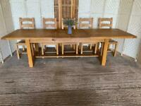 Huge solid oak extending farmhouse dining table 7-10ft seats 10 12