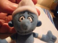 Blue Smurf with White Hat & Loop to Hang Him Up With