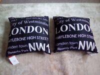 2 London Text Cushions