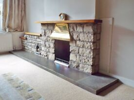"""16"""" Coal Fire with Baxi Wrap Around Back Boiler, Lighthorn Stone Surround,Solid Brass Canopy"""