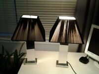 2 x Mirrored Lamps with Black Shades £30.00