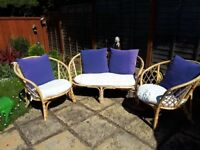 Wicker 3 piece sofa and chairs
