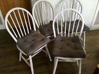 4 Painted farmhouse style dining chairs