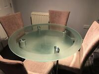Glass Dining Table with 4 chairs - Gartcosh