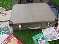 Vintage suitcase and various items