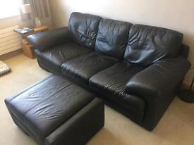 Black leather sofa, Armchair and storage footstool