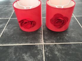Red flower bedside lampshade x 2