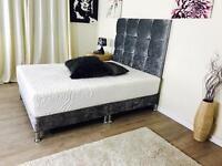 """Crushed velvet divan 7"""" low bed"""