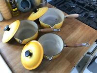Le Creuset pans x3. S, M & L not been used for 30 yrs. A few marks in L pan, but mint condition.