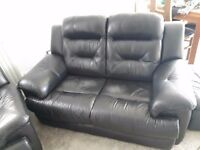 Black leather double recliner sofa, double sofa + footstool