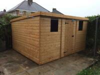 NEW HIGH QUALITY T&G 10x8 PENT ROOF GARDEN SHEDS £699.00 ANY SIZE (FREE DELIVERY AND INSTALLATION)