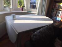 Large shabby chic old white Annie Sloan painted wood table & 4 chairs