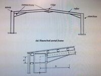 Portal frame building 60mx20m industrial used includes load/design calcs.