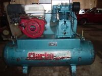 Clarke petrol compressor fitted with a 9hp Honda engine